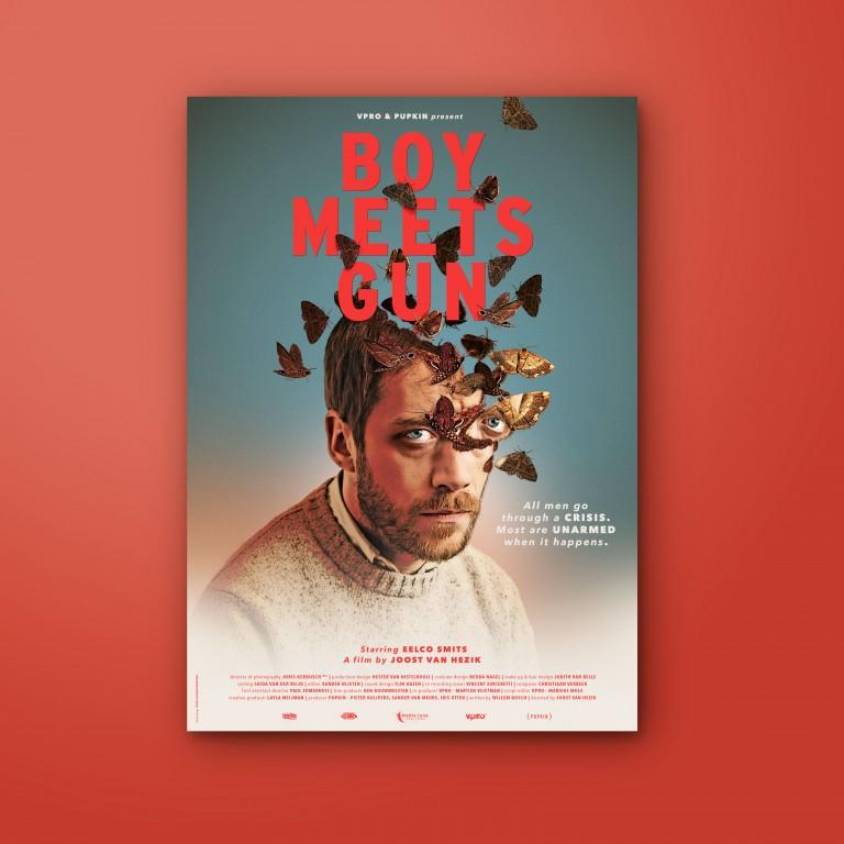 Graphic design movie poster boy meets gun